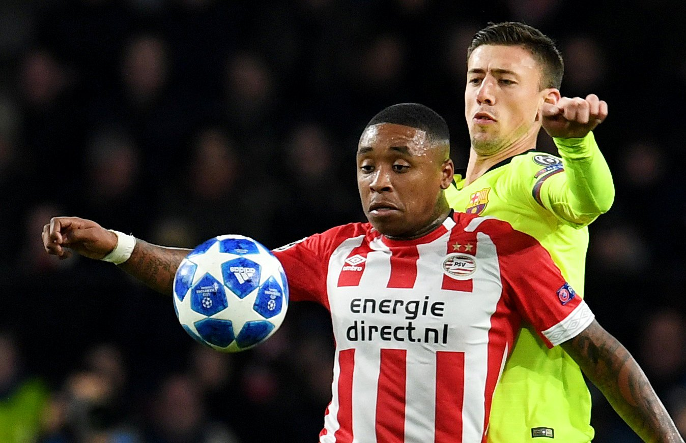 Arsenal following PSV's Steven Bergwijn