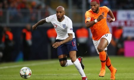 England's Fabian Delph in action with Netherlands' Ryan Babel - UEFA Nations League Semi Final - June 2019