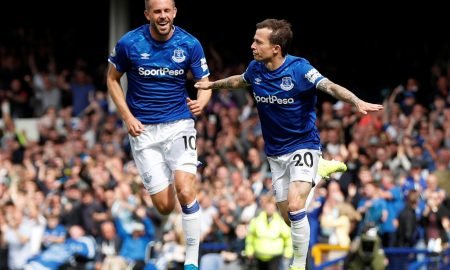 Everton's Bernard celebrates scoring their first goal v Watford with Gylfi Sigurdsson, August 2019