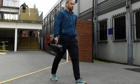 Everton's Cenk Tosun arrives at Selhurst Park before the Crystal Palace match, August 2019