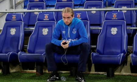 Everton's Tom Davies sits on the bench before the Cardiff match (Feb 2019)