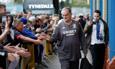 Leeds United manager Marcelo Bielsa outside the stadium before the Brentford match