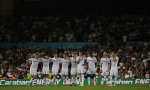 Leeds United players during the Carabao Cup penalty shootout v Stoke, August 2019