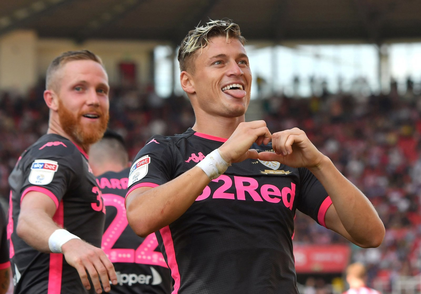 Leeds United's Ezgjan Alioski celebrates scoring their second goal v Stoke, August 2019