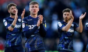 Leeds United's Jack Clarke applauds fans after the Play-Off Semi-Final defeat to Derby, May 2019