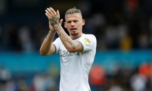 Leeds United's Kalvin Phillips applauds fans after the Nottingham Forest match, August 2019