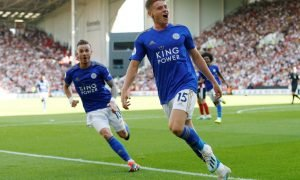 Leicester City's Harvey Barnes celebrates scoring their second goal v Sheff U (August 2019)