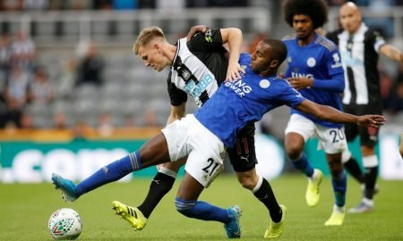 Leicester City's Ricardo Pereira in action with Newcastle United's Matt Ritchie