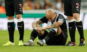 Newcastle United's Jonjo Shelvey looks dejected after missing a penalty in the shoot-out v Leicester City, August 2019