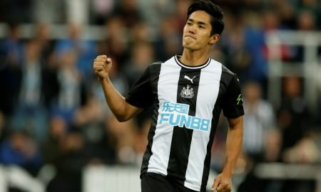 Newcastle United's Yoshinori Muto celebrates scoring in the penalty shoot-out v Leicester, Carabao Cup August 2019