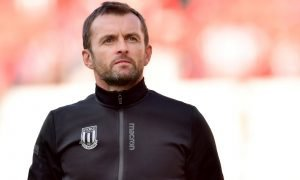 Stoke City manager Nathan Jones after the Leeds Championship match, August 2019