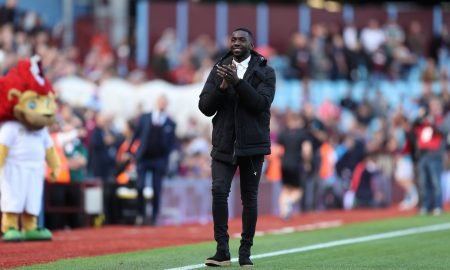 Yannick Bolasie applauds the Aston Villa fans after joining on loan from Everton