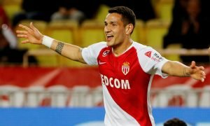 AS Monaco's Rony Lopes celebrates scoring their second goal