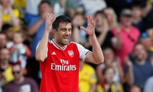 Arsenal's Sokratis Papastathopoulos looks dejected after conceding their first goal v Watford