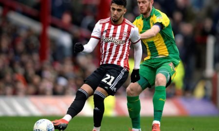 Brentford's Said Benrahma in action with West Bromwich Albion's Chris Brunt