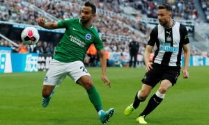 Brighton and Hove Albion's Martin Montoya in action with Newcastle United's Paul Dummett