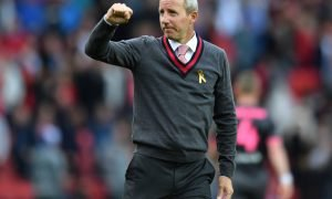 Charlton Athletic manager Lee Bowyer celebrates at the end of the Leeds United match