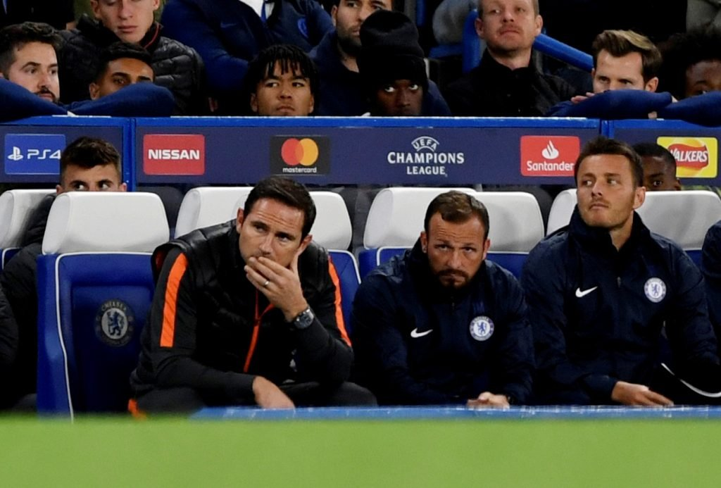 Chelsea manager Frank Lampard and assistant manager Jody Morris look on v Valencia
