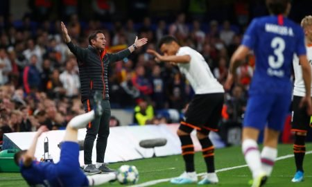 Chelsea manager Frank Lampard reacts to a tackle vs Valencia, Champions League 2019