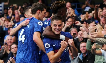 Chelsea's Cesar Azpilicueta celebrates scoring a goal with Tammy Abraham and team mates before it is disallowed following a referral to VAR