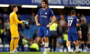 Chelsea's Marcos Alonso looks dejected after the Liverpool match