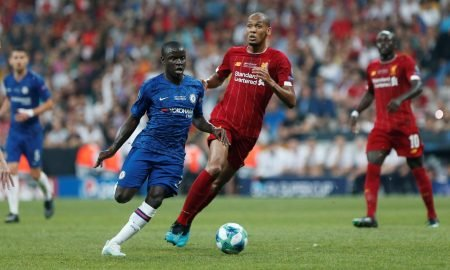 Chelsea's N'Golo Kante in action with Liverpool's Fabinho