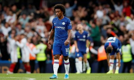 Chelsea's Willian looks dejected after Sheffield United's second goal