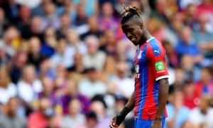 Crystal Palace's Wilfried Zaha reacts v Aston Villa, August 2019
