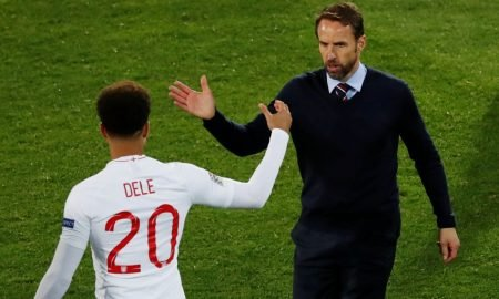 England manager Gareth Southgate shakes hands with Dele Alli before he is substituted on v the Netherlands, UEFA Nations League Semi-Final