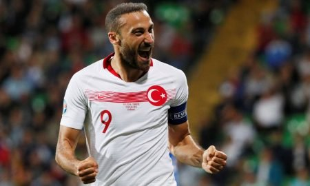 Everton forward Cenk Tosun celebrates scoring Turkey's third goal v Moldova