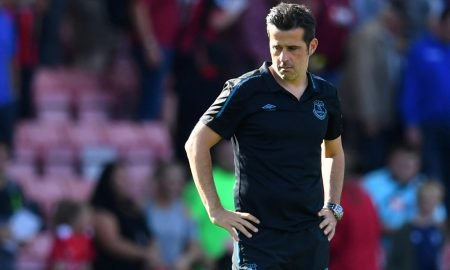 Everton manager Marco Silva looks dejected after the Bournemouth match, which the Blues lost 3-1, Sep 2019