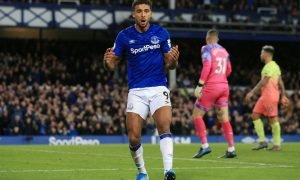 Everton's Dominic Calvert-Lewin reacts after missing a chance to score v Manchester City