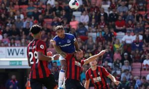 Everton's Dominic Calvert-Lewin scores their first goal v Bournemouth