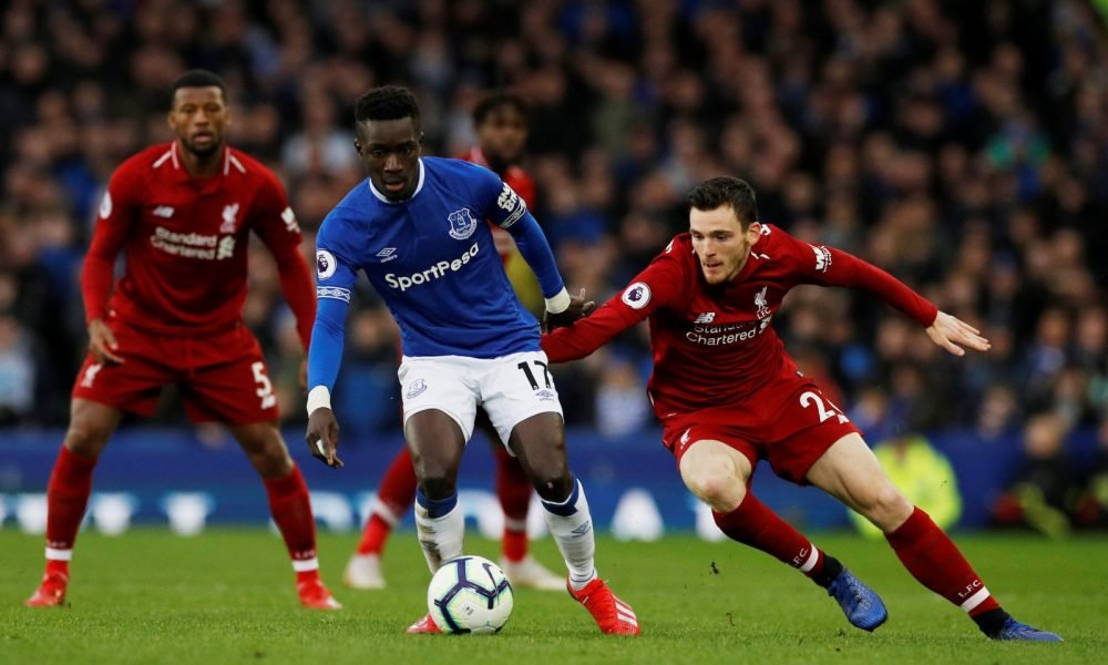 Everton's Idrissa Gueye in action with Liverpool's Andrew Robertson