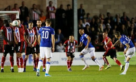 Everton's Lucas Digne scores their first goal v Lincoln City, Carabao Cup - August 2019