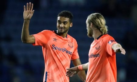 Everton's Tom Davies and Dominic Calvert-Lewin wave to fans at the end of the Carabao Cup - Third Round match v Sheffield Wednesday