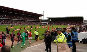General view as the players walk out on to the pitch at Oakwell before the Barnsley v Leeds United match