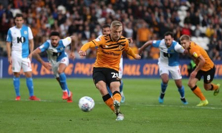 Hull City's Jarrod Bowen takes a penalty that was saved by Blackburn Rovers Christian Walton