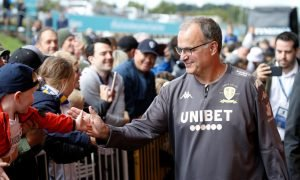 Leeds United manager Marcelo Bielsa arrives at the stadium