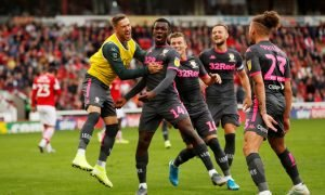 Leeds United's Eddie Nketiah celebrates scoring their first goal v Barnsley with teammates