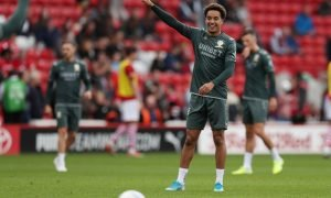 Leeds United's Helder Costa during the warm up before the Barnsley match