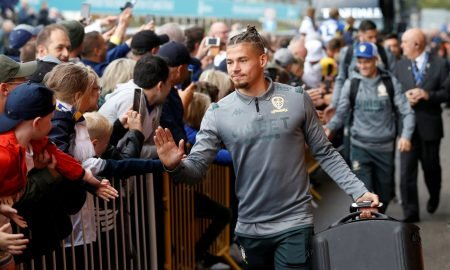 Leeds United's Kalvin Phillips arrives at the stadium before the Swansea match (August 2019)