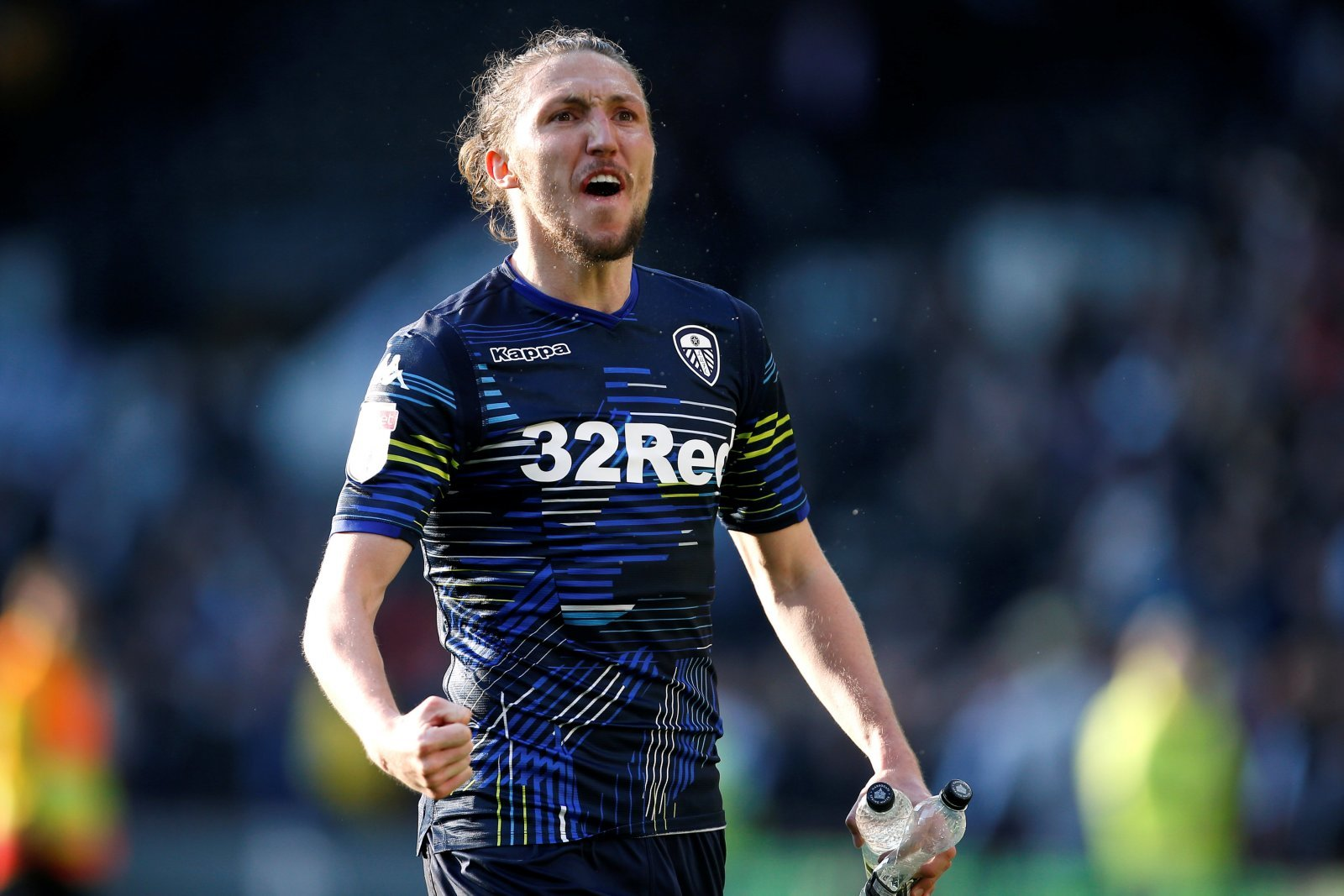 Leeds United's Luke Ayling celebrates after the Play-Off Semi-Final First Leg v Derby County