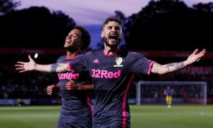 Leeds United's Mateusz Klich celebrates scoring their third goal v Salford City, Carabao Cup - August 2019
