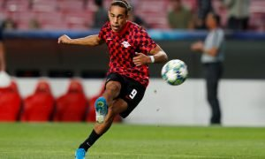 Leipzig's Yussuf Poulsen during the warm up before the Benfica Champions League Group G match, Sep 2019