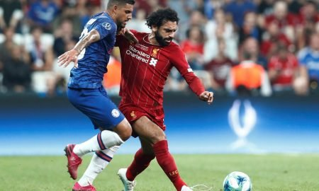 Liverpool's Mohamed Salah in action with Chelsea's Emerson Palmieri