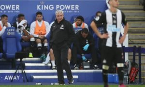 Newcastle United manager Steve Bruce and Miguel Almiron react v Leicester City,
