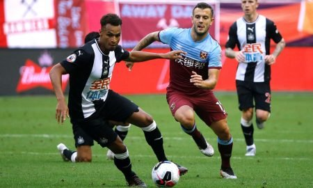 Newcastle United's Jacob Murphy in action with West Ham's Jack Wilshere