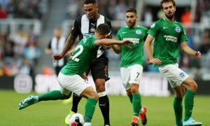 Newcastle United's Jamaal Lascelles in action with Brighton and Hove Albion's Martin Montoya