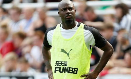 Newcastle United's Jetro Willems warms up during the St Etienne friendly match, August 2019